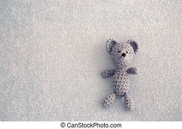 Blue teddy bear knitted toy
