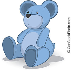 Blue Teddy bear vector illustration on white .