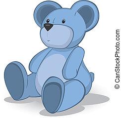 Blue Teddy bear vector illustration on white .