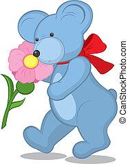 Blue Teddy bear with flower