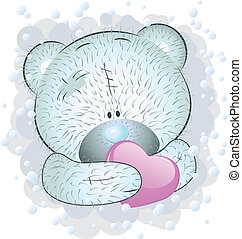 Blue teddy bear with heart