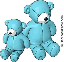 Blue teddy bears vector illustration on white background