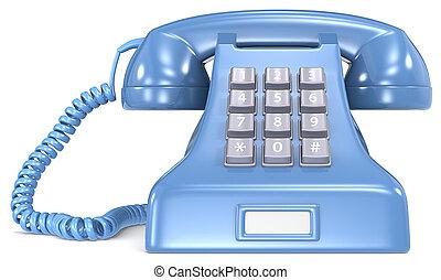 Blue telephone.