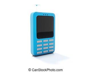 Blue telephone icon isolated on white