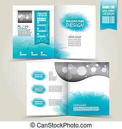 blue template for advertising brochure with blue watercolor...