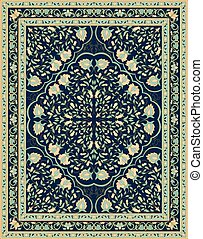 Blue template for carpet. - Oriental floral ornament....