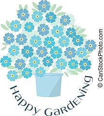 blue tender forget-me-not flowers in retro style. elegant ...