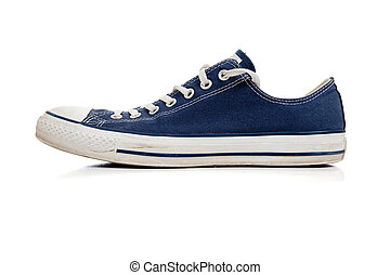 Blue tennis shoe on white