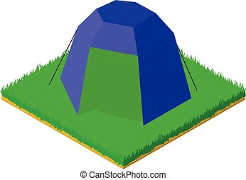 Blue tent icon, isometric style