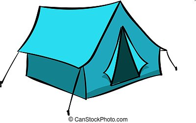 Blue tent, illustration, vector on white background.