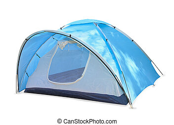 Blue tent isolated over white