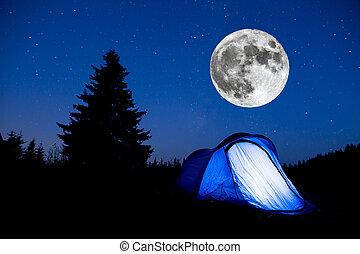 Blue tent night sky pine tree Super Moon