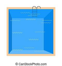 blue tető, elszigetelt, víz, háttér., fehér, kilátás, pocsolya, úszás