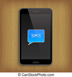 Blue text bubble in phone. Illustration
