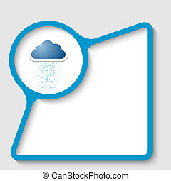 blue text frame for insertion text with cloud and rain