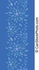 Blue textile peony flowers vertical seamless pattern...