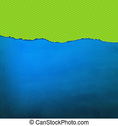 Blue Texture With Green Torn Paper