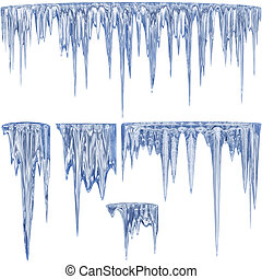 5 blue shade thawing icicles with water droplets