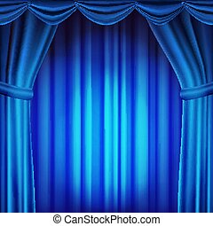 Blue Theater Curtain Vector. Theater, Opera Or Cinema Scene. Empty Silk Stage, Blue Scene. Realistic Illustration