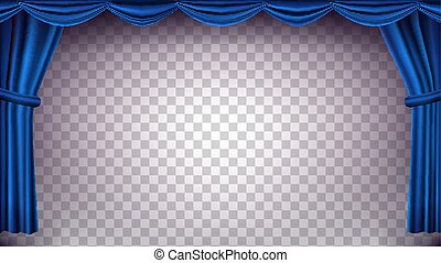 Blue Theater Curtain Vector. Transparent Background. Banner For Concert, Theater. Opera Or Cinema Empty Silk Stage, Blue Scene. Realistic Illustration