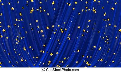 Blue theatrical curtain.