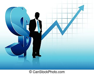 Blue theme businessman silhouette, standing next to a big dollar sign and with a statistic chart showing financial success in the background.