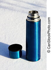 Blue thermos with a cup