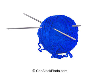 Blue thread ball isolated on white