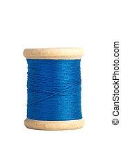 blue thread bobbin isolated on white