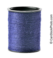 Blue thread spool isolated on white background