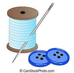 blue thread with needle and buttons