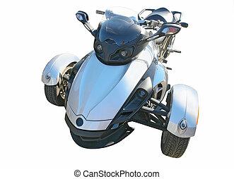 blue three wheel motorcycle