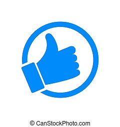 Blue thumb up icon isolated on white background. Like button. Social media icon. Vector illustration