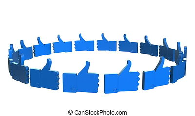 Blue Thumbs up sign on white background