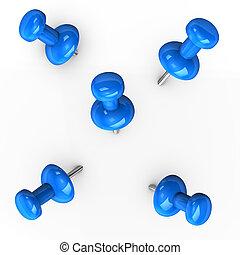 Blue Thumbtacks - 3d illustration of blue thumbtacks on...