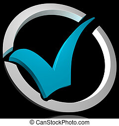 Blue Tick Circled Shows Quality And Excellence - Blue Tick...