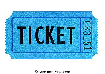 Blue ticket isolated on white background.