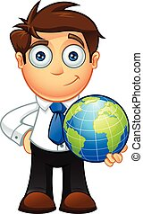 Blue Tie Business Man Character - An illustration of a...