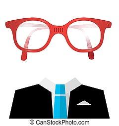 Blue Tie Suit with Empty Face Glasses