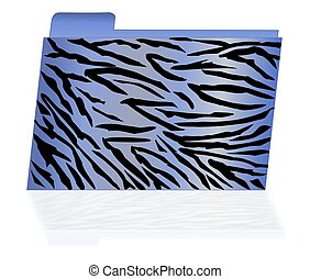 Blue Tiger Striped File Folder