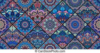 Blue Tile Mandala Pattern