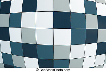 blue tile wall with fisheye effect