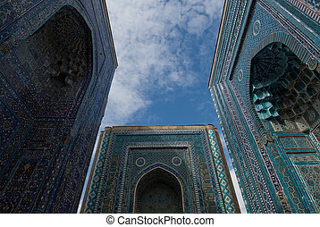 Blue tiled facades of Shahi-Zinda Necropolis, Samarkand,...