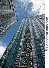 Blue tiled facades of Shahi-Zinda Necropolis, Samarkand, Uzbekistan