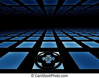 Blue tiled horizon background