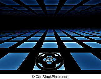 Blue tiled horizon - Blue tiled horizon background...
