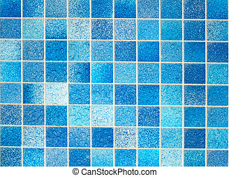 Blue Tiles in Bathroom With Water Drops