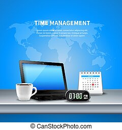 Blue Time Management Realistic Composition