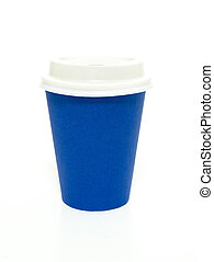 Blue to go coffee cup