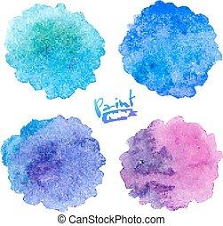 Blue to purple colors vector watercolor splashes set